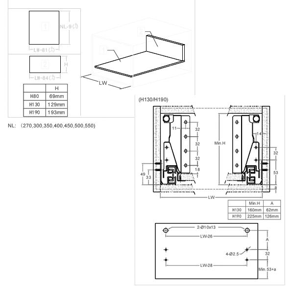 UNIHOPPER MENTAL BOX, схемы раскроя задней стенки и дна ящика и присадки фасада.