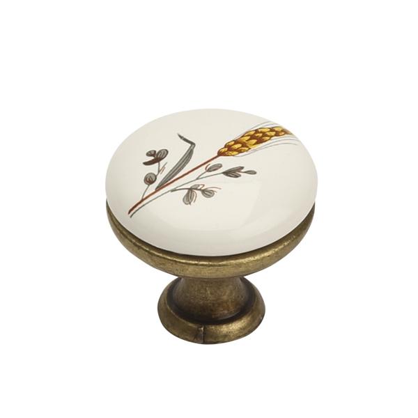 Ручка кнопка античная бронза керамика 96 мм