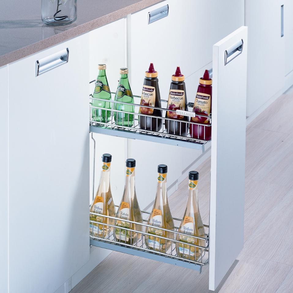 Выдвижная бутылочница для кухни с доводчиком