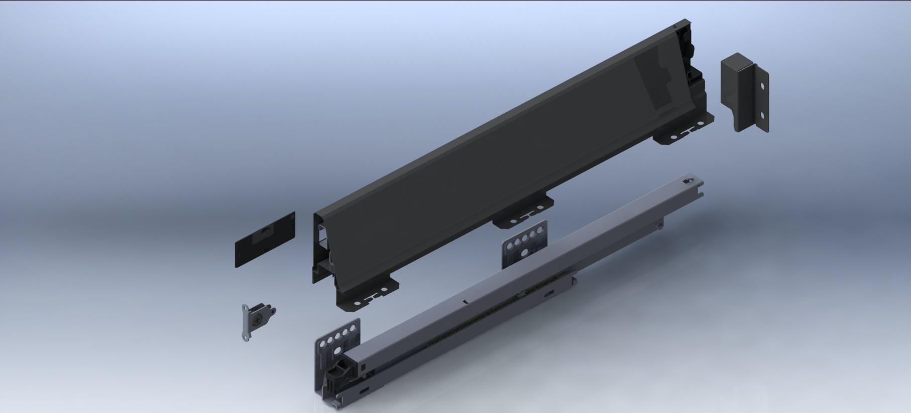 Комплектующие системы выдвижных ящиков UNIHOPPER MENTAL BOX